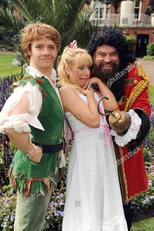Brian Blessed as Captain Hook, Steven Butler as Peter Pan and Jodie Jacobs as Wendy.