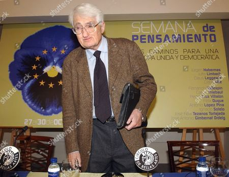 The German Essayist and Philosopher Juergen Habermas Arrives to Open the German Thought Week at Circulo De Bellas Artes in Central Madrid on Monday 27 October 2003 Habermas was Awarded on 24 October 2003 with the 2003 Principe De Asturias Prize For Social Sciences the German Thought Week Ends 30 October 2003 the Slogan on the Poster Reads (from Top to Down) 'Thought Week the Paths to a Unique and Democratic Europe' Epa Photo/efe/bernardo Rodriguez// Spain Madrid