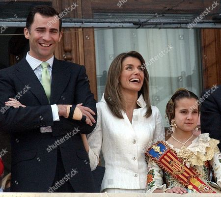 Spanish Crown Prince Felipe and His Wife Letizia Are Accompanied by the Fallas Child Queen Cristina Sanchez Thursday 17 March 2005 at Valencia City Hall Eastern Spain During the Second Most Important Day of Fallas Celebration the Fallas Huge Sculptures Made of Paper Paste Are Burnt at Midnight 19 March Spain Valencia