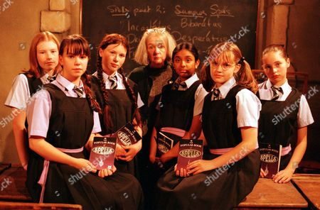 'Worst Witch   TV Series 1 Clare Coulter [C] with The Cast Jessica Fox [second left] Felicity Jones [right]