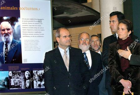 Stock Picture of The Duchess and Duke of Lugo Infanta Elena (r) and Jaime De Marichalar (r Rear) Are Flanked by During the President of Andalucia Regional Government Manuel Chaves (l) and Spanish Minister of Agriculture Miguel Arias Canete (c) Inauguration of the Exhibition 'Memory of the Barbarism: Lx Anniversary of the Holocaust in Europe' on 20 January 2004 in Seville the Exhibition Contains 250 Pictures of the Family of Anne Frank and a Selection of Paintings by Sof?a Gandarias on the Experience of Primo Levi in Auschwitz Spain Sevilla