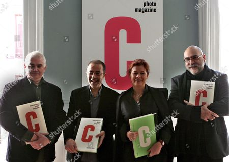 (l to R) Spanish Press Designer Oscar Marin? Photo Consultant Alejandro Castellote Editor Elena Ochoa Foster and Photographer Antonio Sachez at the Launc of 'C Photo Magazine' in Madrid on Monday 12 December 2005 This Magazine is Put out by Ivory Press Spain Madrid
