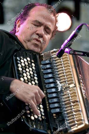 French Accordionist Richard Galliano Performs on the Stage During His Concert at 42nd Edition of San Sebastian Jazz Festival in San Sebastian Basque Country Northern Spain 25 July 2007 Spain San Sebastian