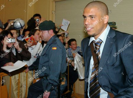 Real Madrid Brazilian Striker Ronaldo Luis Nazario De Lima Arrives on 12 February 2005 to the Noa?n Airport in Pamplona where They Will Face Tomorrow Osasuna at the El Sadar Stadium on a First Division Soccer Match Spain Pamplona