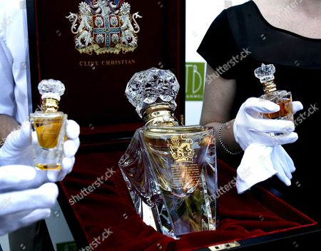 Clive Christian's 'No 1 Imperial Majesty' Bottles Are Displayed During Their Presentation For the First Time in Spain in Marbella Southern Spain 15 June 2007 Clive Christian Based in London Claims to Sell the World's Most Expensive Perfume with Its No 1 Fragrance Weighing in at 195 000 Euros Per Bottle Spain Marbella