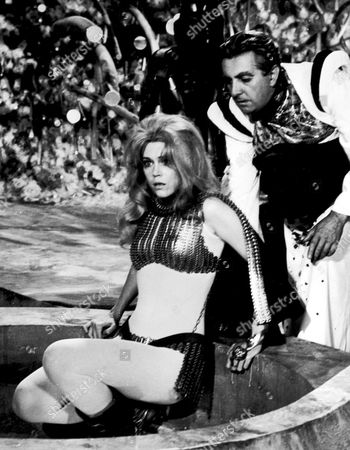 Stock Image of JANE FONDA AND MILO O'SHEA FILMING 'BARBARELLA' AT THE DE LAURENTIS STUDIOS ROME. 14/08/67