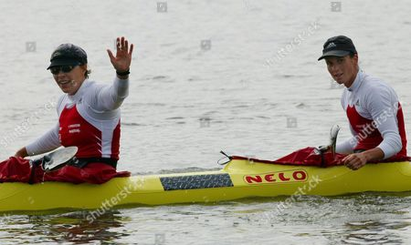 Americans Kathy Colin and Lauren Spalding Win the K-2 Senior Women 500m Race at the Canoe Olympic Qualifying Tournament in Curitiba Brazil on Sunday 2 May 2004 Us Women Qualified For the Summer Games in Athens Brazil Curitiba