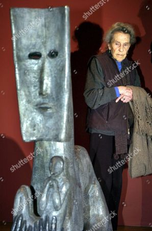 Ninety Year Old British Artist Leonora Carrington Pose in Mexico City Mexico 20 September 2007 Next to One of Her Sculptures During the Inauguration of the Exposition 'Museo De Formas' (museum of Forms) where 30 of Her Brass Sculptures Are Shown Mexico Mexico