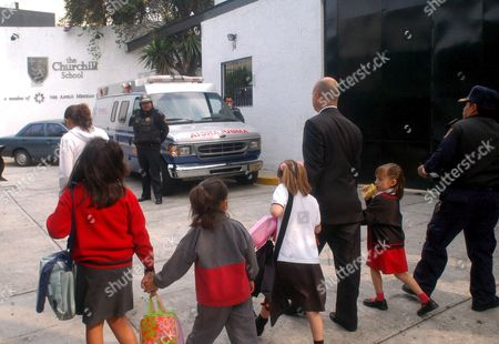 Parents Escort Their Children From the Winston Churchill School in an Exclusive Neighbourhood of Mexico City Mexico 13 June 2007 After a Man Entered the Building and Shot and Killed the Headmistress of the Pre-school Carla Jimenez Mexico Mexico City