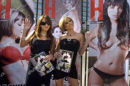 Mexican Actress Fabiola Campomanes (l) and Former Participant of Big Brother Mexico Silvia Irabien (r) Wave During the Presentation of Their Appearance on the Men's Review H in Mexico City Mexico 09 November 2007 Both Women Became More Famous Due to the Sensuality of the Photos Released Mexico Mexico City