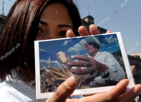 Mexican Actress Vanessa Bauche Holds a Picture of a Farmer During a Protest Held by a Group of Activists in Mexico City Mexico on 12 March 2008 the Protesters Delivered 440 000 Signatures to the Mexican Senate in Order to Demand the Stoppage of Bean and Corn Imports From the Usa Mexico Mexico City