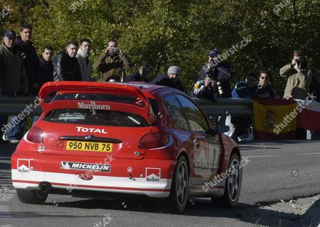Brittish Pilot Richard Burns Drives His Peugeot 206 Near La Pobla De Lillet Near Roses on Friday 24 October 2003 on the First Day of the Catalonia-costa Brava Motor Rally Spain Roses