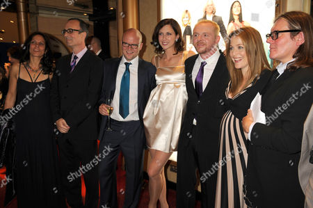 Stock Picture of Cast and crew: (2nd L) Robert Weide, Toby Young, Margo Stilley, Simon Pegg, Gillian Anderson and Stephen Woolley