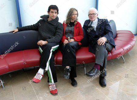 Stock Image of French Fashion Designer Pierre Cardin (r) Poses with Actor Stephane Roche (l) and Actress Sophie D?alezio (c) During the Presentation of a Musical Play About Salvador Dali's Life in the Town of Altea in the Southeastern Spanish Province of Alicante Friday 05 November 2004 the Play 'Dali Folies' ('dali's Madness') Premieres Next Saturday at the Palau Theatre in Altea Pierre Cardin was a Friend of the Spanish Artist Dali and is the Owner of the Theatre Company Performing the Play Spain Altea