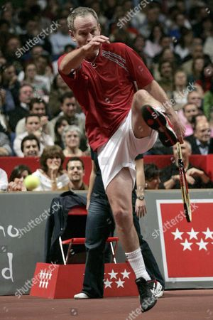 Us Tennis Player John Mcenroe Gets Angry During His Master Senior Semifinal Match Against Swedish Mats Wilander in Madrid Central Spain 14 April 2007 Mcenroe Won 6-2 6-2 Spain Madrid