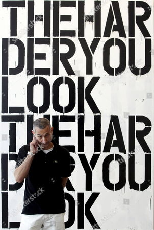 Us Artist Christopher Wool Poses Near the Work 'Untitled' During the Inauguration of an Exhibition on His Work at the Valencia Institute of Modern Art (ivam) on Thursday 6 April 2006 in Valencia Spain Valencia
