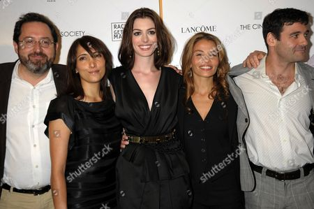 Stock Picture of L-R: Producer Neda Armian, Actress Anne Hathaway, writer Jenny Lumet and Mather Zickel