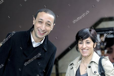 Moroccan Director Faouzi Bensaidi (left) Poses with Moroccan Actress Nezha Radhil Before the Premiere of His Last Film 'What a Wonderful World' in Madrid Spain 28 February 2008 Spain Madrid