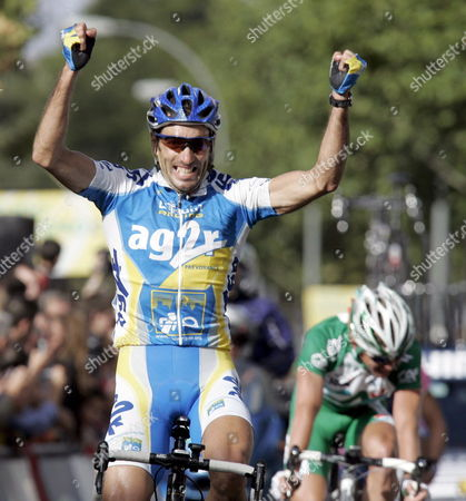 Spanish Cyclist Jose Luis Arrieta of Ag2r Team Celebrates As He Wins the 19th Stage of the Spanish Vuelta (cycling Tour) Friday 15 September 2006 Run Along 205 Kms Between Jaen and Ciudad Real Central Spain Arrieta 35 Y O Wins a Stage in Vuelta For the First Time Spain Ciudad Real