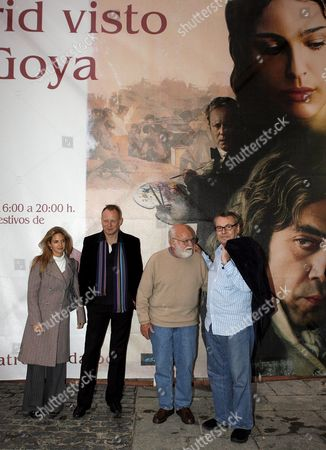 L-r Countess of Salvatierra Mexican Genoveva Casanova who Plays a Short Role in the Film Swedish Actor Stellan Skarsgard Producer Saul Zaentz and Czech Director Milos Forman Pose For Photographs During a Visit to Exhibition 'Madrid Seen by Goya' at Casa De La Panaderia Cultural Center in Madrid Wednesday 08 November 2006 the Event Marks the Premiere of the Film 'Goya's Ghosts' a Historical Drama Based on the Life of the Spanish Painter Francisco De Goya Spain Madrid