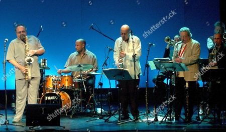 (from L to R) Us Saxophonist Joe Lovano and Other Members of His Group Otis Brown Gary Smulyen Steve Slagle Y Ralph Lalama Perform on Stage During the Granada International Jazz Festival at Isable the Catholic Theatre in Granada Spain Saturday 18 November 2006 Spain Granada