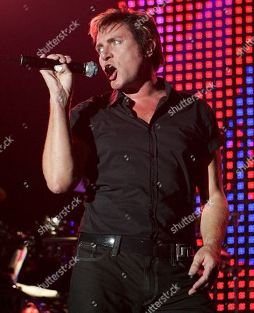 Duran Duran's Singer Simon Lebon Performes During the Band's Concert at Riviera Hall in Madrid Spain on Sunday 22 May 2005 where the 80's British Group Presented Their New Album 'Mediocre Austronaut' As Part of Their Spanish Tour Which Started in Barcelona Last Friday Spain Madrid