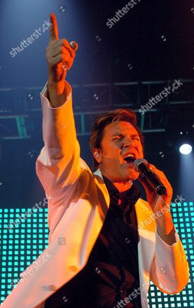 Simon Lebon Fron Man of British Pop Group Duran Duran Performs with His Group on Stage in Barcelona Spain where They Begin Their European Tour on Friday 20 May 2005 Spain Barcelona