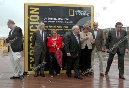 The Director of the National Geographic Museum Susan Norton (3-r) and the President of the Principality of Asturias Vicente Alvarez Areces (c) Accompanied From Left to Right by the Consultant of Infraestructure Francisco Gonzalez Buendia; Fernando Men?ndez Rexach President of the Port Autorithy; Paz Fernßndez Felgueroso Mayor of Gijon; City Councillor Justo Vilabride and Graciano Garc?a President of the Prince of Asturias Foundation Are Pictured During the Inauguration of the Exhibition 'From the Sea Abyss to the Top of the Earth the Big Exhibition of National Geographic in Europa' Organized by the Prince of Asturias Foundation in the Port of Gijon Asturias Northern Spain 19 July 2007 Spain Gij?n
