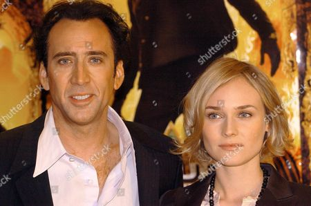Stock Photo of Us Actor Nicholas Cage and Actress Diana Kruger Posing For Photographers During the Presentation of Their Latest Film 'The Search' on Tuesday 30 November 2004 in Madrid Epa/sergio Barrenechea Spain Madrid
