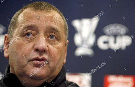 Aberdeen Coach Jimmy Calderwood is Seen During the Press Conference Held at the Vicente Calderon Stadium in Madrid Spain on 28 November 2007 Ahead of Their Uefa Cup Soccer Match Against Atletico De Madrid on 29 November Spain Madrid