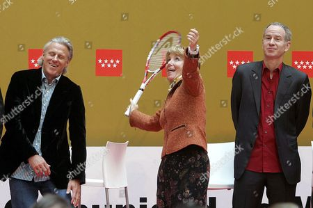 The President of Madrid Esperanza Aguirre (c) Jokes with Tennis Players Bjorn Borg (l) and John Mcenroe During the Official Presentation of the Six Competitors who Participate in the Madrid's Masters Senior in Madrid Spain on Friday 13 April 2007 the Tournament Will Take Place From 14 to 15 April Spain Madrid