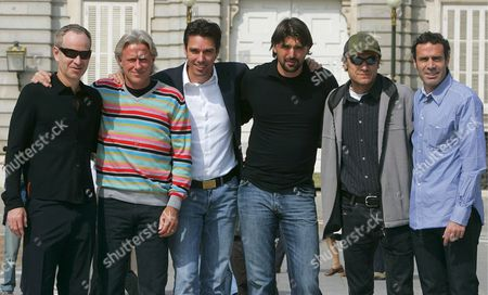 (from L to R) Tennis Players John Mcenroe Bjorn Borg Michael Stich Goran Ivanisevic and Mats Wilander Pose with Spanish Player and Head of the Event Alex Corretja in Front of the Royal Palace in Downtown Madrid 14 April 2007 on the Second Day of the Three-day Tennis Senior Masters Held at the Palacio De Los Deportes Stadium Spain Madrid