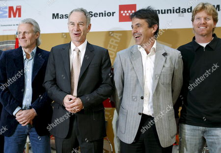 (l-r) Tennis Veterans Swedish Bjoern Borg Us John Mcenroe Spanish Emilio Sanchez Vicario and Us Jim Courier Pose For Photographers As They Attend the Presentation of the 2nd Madrid Masters Senior Tournament 28 March 2008 in Madrid Spain Tennis Players Jim Courier Sergi Bruguera and Emilio Sanchez Vicario Take Part in the Tournament Which Runs From 28 March Until 30 March 2008 Spain Madrid