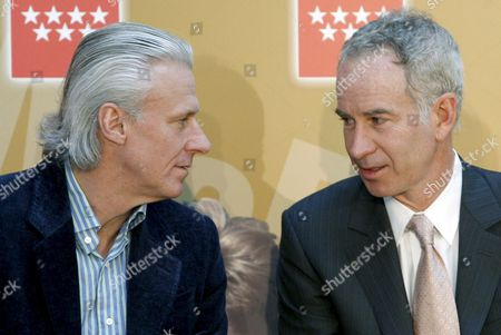 Stock Photo of Tennis Veterans Swedish Bjoern Borg (l) and Us John Mcenroe Chat As They Attend the Presentation of the 2nd Madrid Masters Senior Tournament 28 March 2008 in Madrid Spain Tennis Players Jim Courier Sergi Bruguera and Emilio Sanchez Vicario Take Part in the Tournament Which Runs From 28 March Until 30 March 2008 Spain Madrid