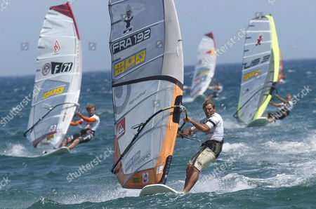 French Windsurfer Antoine Albeau (c) Competes During the 9th Catalonia-costa Brava Grand Prix in San Pere Pescador Town Girona Northeastern Spain 17 June 2007 Spain San Pere Pescador