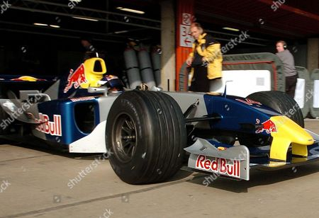 Austrian Formula One Driver Christian Klein of New Team Red Bull Former Jaguar Leaves Boxes Ahead of the Training Session Wednesday 24 November 2004 at the Montmelo Circuit in the Outskirts of Barcelona Northeast of Spain Spain Montmelo