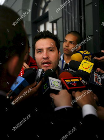 Luis Felipe Polanco (c) Son of the Colombian Former Parlamentary Gloria Polanco De Lozada who was Kidnapped by the Revolutionary Armed Forces of Colombia (farc) Talks to the Media in Caracas Venezuela 26 February 2008 Gloria Polanco De Lozada Along with Orlando Beltran Cuellar Luis Eladio P?rez Bonilla and Jorge Eduardo Gechem Turbay Are Expected to Be Liberated 27 February 2008 in an Unrevealed Place in the Colombian Jungle After Almost Seven Years in Captivity by Farc According to Venezuelan Government Venezuela Caracas
