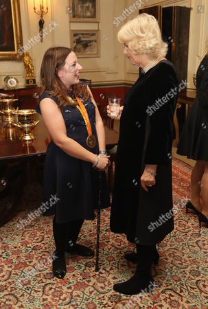 Camilla Duchess of Cornwall (R) with para-equestrian Natasha Baker during a reception for the British Equestrian teams who took part in the 2016 Olympic and Paralympic games at Clarence House, England. (Photo by Chris Jackson - WPA Rota/Getty Images)