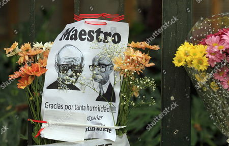 A Sign with a Drawing Depicting Late Argentinian Writer Ernesto Sabato and the Writing 'Master Thank You For So Much Humility' Left in Front of His House in Buenos Aires Argentina on 30 April 2011 Ernesto Sabado Died the Same Day at the Age of 99 Argentina Buenos Aires