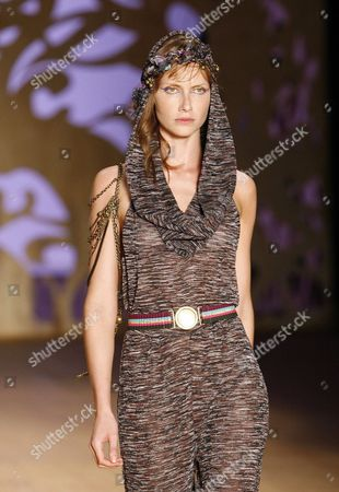 Stock Picture of Brazilian Model Ana Claudia Michels Takes to the Catwalk Wearing a Design by Cantao During the Rio De Janeiro Fashion Week in Rio De Janeiro Brazil 09 January 2010 Brazil Rio De Janeiro