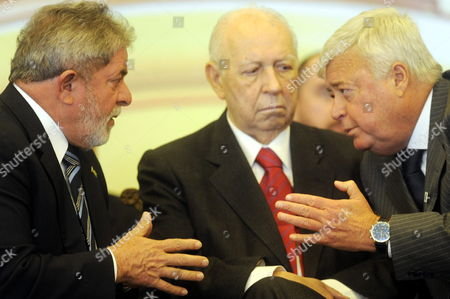 Brazilian President Luiz Inacio Lula Da Silva (l) Speaks with Brazilian Vice President Jose Alencar (c) and Chief of Brazilian Football Confederation (cbf As It Stands in Portuguese) Ricardo Teixeira in Brasilia Brazil 19 July 2010 the Goverment of This Country Will Invest 5 600 Million of Reales (about 3 163 Million of Dollars) to Redesigning the Airports Fifa Criticized Their Conditions and Pointed Them out As One of the Critical Points Before the World Cup 2014 Brazil Brasilia