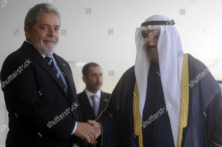 Brazilian President Luiz Inacio Lula Da Silva (l) Greets Prime Minister of Kuwait (r) Sheikh Nasser Mohammed Al-ahmed Al-sabah at the Itamaraty Palace in Brasilia Brazil 22 July 2010 During His Official Visit to the Country Brazil Brasilia