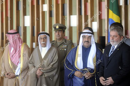Brazilian President Luiz Inacio Lula Da Silva (r) Poses Next to the Prime Minister of Kuwait (2nd R) Sheikh Nasser Mohammed Al-ahmed Al-sabah at the Itamaraty Palace in Brasilia Brazil 22 July 2010 During His Official Visit to the Country Brazil Brasilia