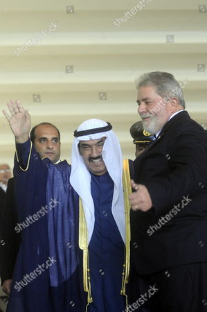 Brazilian President Luiz Inacio Lula Da Silva (r) Greets Prime Minister of Kuwait (c) Sheikh Nasser Mohammed Al-ahmed Al-sabah at the Itamaraty Palace in Brasilia Brazil 22 July 2010 During His Official Visit to the Country Brazil Brasilia