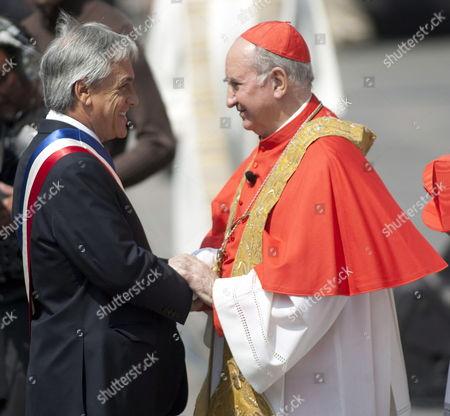 Chilean President Sebastian Pinera (l) Greets Cardinal of Santiago Francisco Javier Errazuriz (r) During a Te Deum Mass in Santiago Chile 12 March 2010 Chile Santiago