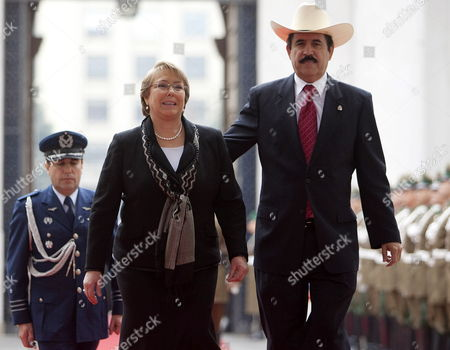 Stock Photo of Chilean President Michelle Bachelet (l) Receives Her Ousted Honduran Counterpart Manuel Zelaya (r) at La Moneda Palace in Santiago Chile 13 August 2009 After His Arrival to the South American Country Zelaya Urged the Usa to Fight Against the De Facto Government of Roberto Micheletti Chile Santiago