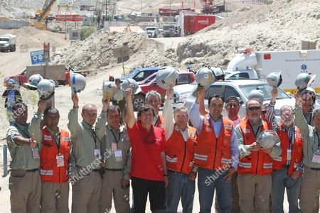 Chilean Minery Minister Laurence Golborne (c) Posing Along with the Rescue Team During a Press Conference at the San Jose Mine Near Copiapo Chile on 14 October 2010 After the Rescue Operation of the 33 Trapped Miners Chile Copiapo