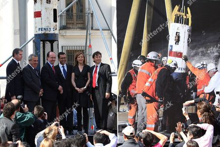 Chilean Mining Minister Laurence Golborne (r); Homeland Minister Rodrigo Hinzpeter (3r); General Secretary of Government Ena Von Baer (2r); Health Minister Jaime Ma±alich (2l); and Justice Minister Felipe Bulnes (i) Participate in the Inauguration of the Exhibition of the 33 Chilean Miners Rescue Chamber Called 'Fenix 2' in Santiago De Chile Chile 19 October 2010 the Fenix 2 was Used to Rescue the 33 Miners That Were Trapped in a Collapsed Mine During 70 Days in Northern Chile and Will Be Exhibited Until Next 25 October 2010 in the Capital Chile Santiago De Chile