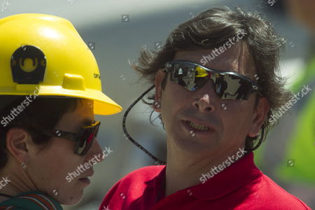 Chilean Minery Minister Laurence Golborne (r) is Seen is Seen After a Press Conference Before the Start of the Rescue Operatioon of the 33 Trapped Miners at the San Jose Mine Near Copiapo Chile on 12 October 2010 Golborne Said That at Least One Miner Will Be Rescued Today Chile Copiapo