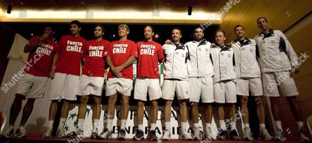 Teams From Chile (from L to R) Jorge Aguilar Paul Capdeville Fernando Gonzßlez Hans Gildemeister (captain) Nicolßs Mass· and From Israel Eyal Ran (captain 5r) Andy Ram Dudi Sela Jonathan Erlich and Harel Levy Pose to the Press After the Draw of the Davis Cup on 5 March 2010 in Coquimbo 458 Kilometers North of Santiago Chile Chile Coquimbo
